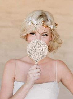 Gold leaf bridal headpiece. Photo by Elizabeth Messina.
