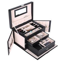 Amazing SONGMICS Black Leather Jewelry Box Watch Storage Organizer W/ Lock Mirror  And Mini Travel Case