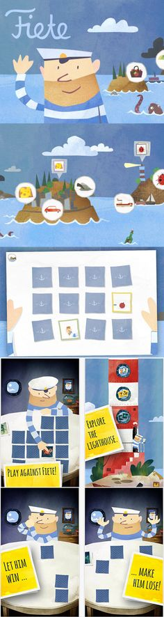 An easy way to move around an app and this could particularly be used in a search engine without words. This way children could be able to include fun while on the app. Childrens Alphabet, Childrens Artwork, Game Ui Design, App Design, Pirate Games, Game Interface, Art For Kids, Art Children, Game Concept