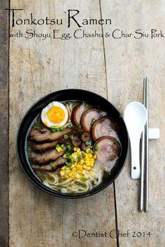 recipe tonkotsu ramen pork bone broth soup homemade chashu pork belly shoyu soft boiled egg | Dentist Chef