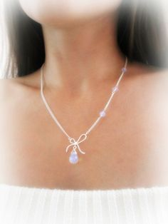 Opalite Moonstone pendant Necklace Silver Bow by MalinaCapricciosa
