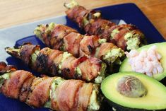 Bacon Wrapped Shrimp and Avocado Stuffed Peppers