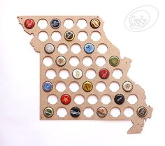 Missouri Beer Cap Map. Beer Cap Map will be а perfect gift! Simple and beautiful Beer Cap Map always decorate your home, hallway, room, office, garage, bar