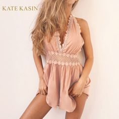 a3e7a20977c2 womens halter v neck summer lace jumpsuit romper Strap elegant jumpsuit  women pink playsuit 2017 sexy backless short overalls