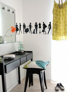 Fun fashion wall stickers - lovely idea for a teenage girls room.