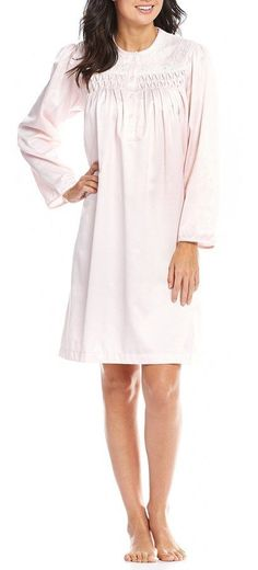Miss Elaine Petite Smocked Brushed-Back Satin Nightgown