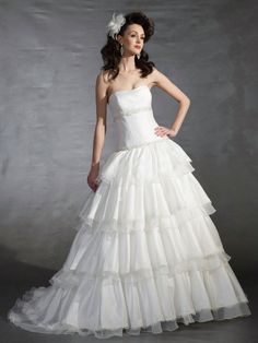 Ball Gown Strapless Scoop Neck Dress With A Dropped Waist Wedding Dresses