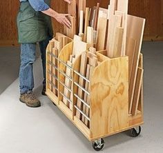 1600 wood plans - DIY Mobile Cutoff Bin - handy cart provides a home for all those cutoffs that are too good to throw away. Woodworking Drawings - Get A Lifetime Of Project Ideas and Inspiration! Workshop Storage, Workshop Organization, Garage Workshop, Garage Organization, Workshop Ideas, Wood Workshop, Organization Ideas, Workshop Design, Woodworking Crafts