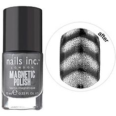"MAGNETIC NAILPOLISH UM SO COOL    ""The formula actually has magnetic particles in it, and when you hold a magnet (conveniently located on the polish bottle cap) over your nail, the polish ripples and creates a 3-D effect."""