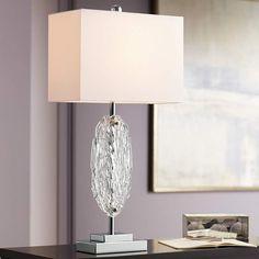 Possini Euro Gabriel Modern Glass Table Lamp - #72M54   Lamps Plus Metal Table Lamps, Glass Table, Silver Lamp, Contemporary Table Lamps, Modern Table, Globe Pendant Light, Mirror Lamp, Modern Lighting Design, Mesas