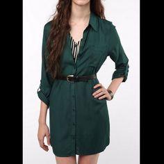 Green Shirt Dress Nwot