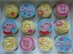 Pig Birthday Cakes, Ice Cream Birthday Cake, Birthday Cake Girls, 2nd Birthday Parties, Pig Cupcakes, Cupcake Cookies, Yellow Cupcakes, Fiestas Peppa Pig, Fondant