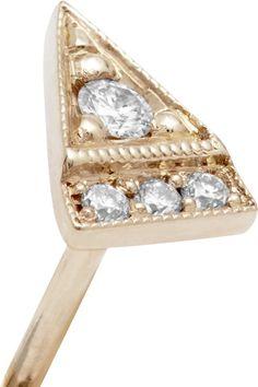 Jennie Kwon Designs - Deco Point 14-karat Gold Diamond Earring - one size