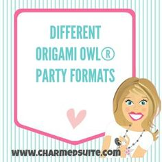 Different Origami Owl® Party and Jewelry Bar Formats.  Follow BRENDA STER on FB!  http://www.facebook.com/charmedsuite