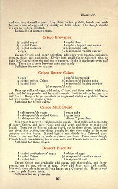 Crisco Recipes, Old Recipes, Cookbook Recipes, Bread Recipes, Cooking Recipes, Gelatin Recipes, Retro Recipes, Vintage Recipes, Bon Appetit