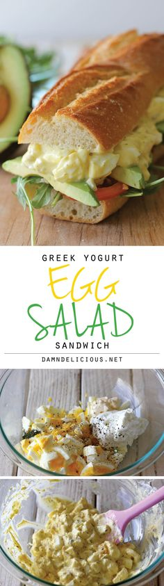 This egg salad sandwich has me salivating! - Greek Yogurt Egg Salad Sandwich - Lightened up with Greek yogurt, you'll have a hearty sandwich in minutes. And it doesn't taste healthy! Clean Eating Recipes, Lunch Recipes, Vegetarian Recipes, Cooking Recipes, Healthy Recipes, Vegetarian Salad, Clean Meals, Thm Recipes, Family Recipes