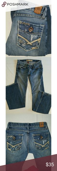 """??NEW?? BKE DENIM STELLA BKE DENIM STELLA STRETCH DESTRUCTED DENIM JEANS Waist is 24"""" inseam is 31.5"""" rise is 6"""" and bottom of leg is 8.5"""" wide.  All measurements are approximate and taken flat. BKE Jeans"""