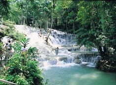 Dunns River Falls in Ocho Rios, Jamaica.  Beautiful!  Loved climbing them, but it was oh so cold!