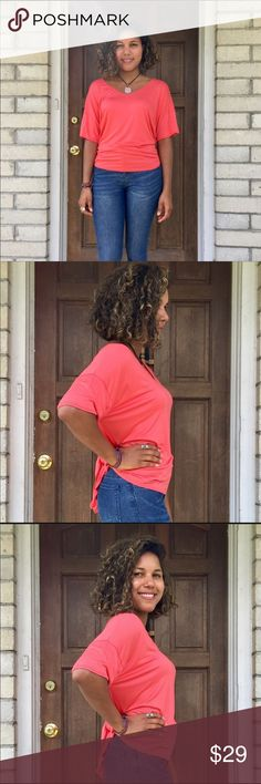 Bright Watermelon V-Neck Top I'm obsessed with the super-soft Bright Future Top! Features a self-tie back (very cute worn with high-waist jeans or shorts) and comes in a bright, fun watermelon! Available in S-M-L, Small fits a 4-6, Medium fits a 8-10, Large fits a 12-14. 94% Modal, 4% Spandex. Specific measurements available upon request. B. Effortless Tops Blouses