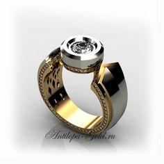 Кольцо печатка с бриллиантом, золотые украшения печатки Gold Plated Rings, Gold Rings, Silver Jewelry, Fine Jewelry, Silver Bracelets, Jewellery, Mens Pinky Ring, Coin Ring, Antique Rings