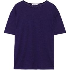 T by Alexander Wang Linen and silk-blend jersey T-shirt ($65) ❤ liked on Polyvore featuring tops, t-shirts, purple, purple top, t by alexander wang tee, relaxed fit t shirts, blue tee and linen t shirt