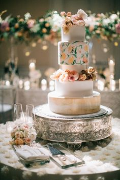 Watercolor Floral Painted Wedding Cake