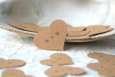 CUSTOM INITIALS // Kraft Paper Heart Confetti, Wedding Confetti, Paper Hearts, Rustic Wedding Decorations on Etsy, $7.00