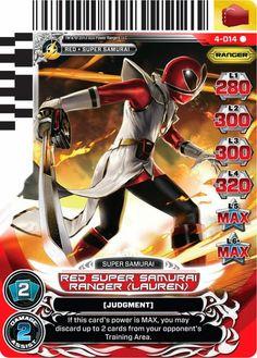 Power Rangers Super Samurai Red Ranger.  Lauren looks like she's been taking posing lessons from Natasha Romanova.