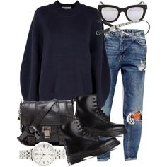 Untitled #16146 by florencia95 on Polyvore featuring 3.1 Phillip Lim, Dr. Martens, Proenza Schouler, FOSSIL, Wonderland, H&M and Pull&Bear