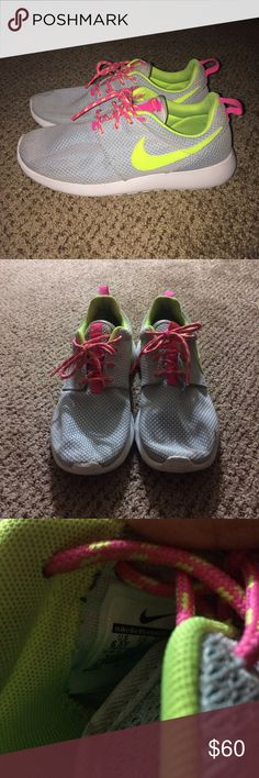 Grey Nike roshes Worn 3 times so they are in great condition they are a youths 6.5 which is equal to a women's 8 make an offer! Nike Shoes Athletic Shoes