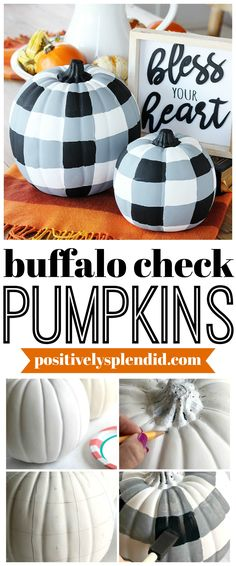 DIY Painted Buffalo Check Pumpkins - An easy fall craft project idea! Learn how to make hese buffalo check pumpkins with plain craft pumpkins. An easy and trendy craft project to make for fall! Easy Fall Crafts, Fall Diy, Diy Crafts, Decor Crafts, Quick Crafts, Bead Crafts, Holiday Crafts, Holiday Ideas, Paper Crafts