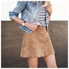 suede skirt + stripes + denim
