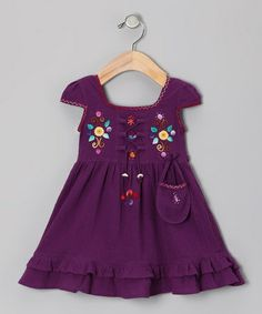Take a look at this Purple Lily Cap-Sleeve Dress - Toddler & Girls by Little Cotton Dress on #zulily today!