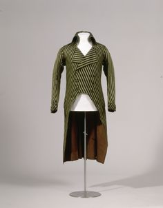 Coat, 1790-1795. Mixed fabric with stripes of black cotton and green silk, lined with brown linen, wooden buttons.