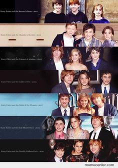 Time flies - Harry Potter - I like this sequence, cos it looks like Daniel Radcliffe is shrinking, haha - Fans D'harry Potter, Theme Harry Potter, Harry Potter Cast, Harry Potter Fandom, Harry Potter World, Harry Potter Memes, Harry Et Ginny, Ron Y Hermione, Hermione Granger