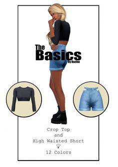 Crop top and high waisted shorts at Bazlou via Sims 4 Updates