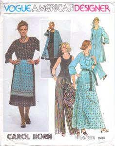Carol Horn Vogue Pattern 1598 for a multi-part -Ethnic wardrobe of tunic top, tank top, loose coat, apron, skirt, shawl and pants ~ a lot of bang for the buck ~