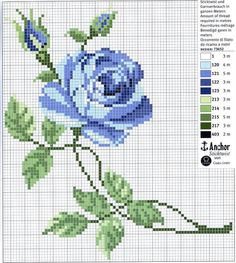 Схема вышивки крестом «Голубая роза»
