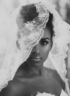Gorgeous bride with dainty lace veil. #weddings #blackbride #blackwomen Prepare your skin before your big day. Exfoliate, moisturize and pamper. Visit: http://www.bareindulgence.net