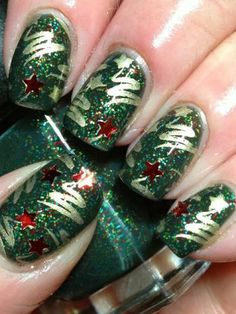 Stylized Christmas trees on red,gold and green glitter