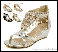 Wholesale 2014 New Silver Gold Wedding Bride Shoes Bohemian Shiny Beaded Sandals Shoes sexy women low-heeled wedge sandals ePacket free shipping, Free shipping, $30.77/Pair | DHgate Mobile