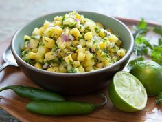 The tropical flavors of pineapple and lime combine with red onion, cilantro and serrano pepper for a salsa that's great with grilled pork, skirt steak, shrimp or tofu. It's also delicious with tortilla chips or spooned over tacos. For the best flavor, make at least 30 minutes ahead of time to allow the flavors to mingle.