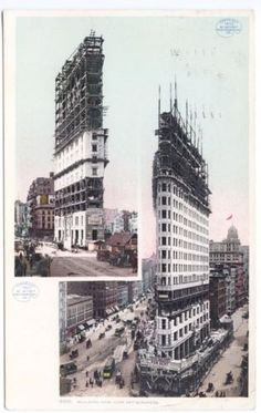 New-York-NY-Building-New-Sky-Scrapers-Trolley-Horse- Wagons-Postcard early 1900's