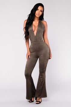 ba21014a2f4 Good Times Coming Suede Jumpsuit - Olive
