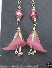 Pair SP Acrylic Pink Flower Beaded Earrings Gothic Rock Fantasy Cult Retro
