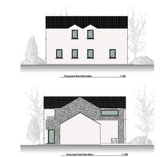 This Project includes the demolition of an existing dwellinghouse and construction of a new dwelling, garage, new driveway and all ancillary services. Old School House, Modern House Design, Building A House, Old Things, Garage, Floor Plans, How To Plan, Projects, Home Decor