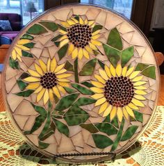 Stained Glass Mosaic PlateSummer Sunflowers by DawgHouseCreations