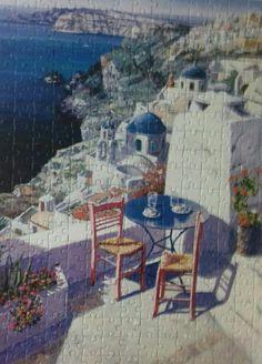 Santorini by Sam Park. 300 peças. 45.7 cm x 60.9 cm. MB puzzle. 2014. Montado em setembro de 2016.