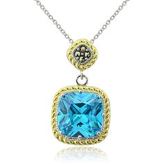 Glitzk Rocks Sterling Silver Two-Tone Simulated Aquamarine and... ($27) ❤ liked on Polyvore featuring jewelry, necklaces, blue, sterling silver pendant necklace, blue necklace, chain necklaces, sterling silver charm necklace and long sterling silver necklace