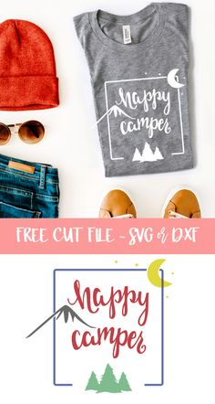 Free Happy Camper Cut File - Use with Silhouette Cameo or Cricut machines. SVG and DXF files included.